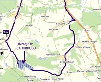 Схема проезда к парадрому д.Санниково.  1. Путь длиннее второго варианта на 4-6 км, но качество дороги хуже...